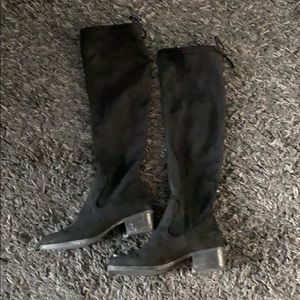 Zara black knee high pull on boots 38 worn once